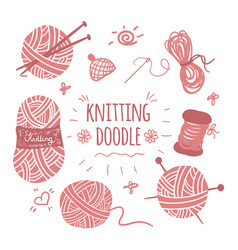 Knitting doodle icons set vector