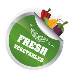 Fresh vegetables health vitamins diet emblem vector