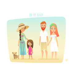 People on the beach family surfer friends vector