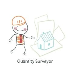 Quantity surveyor design house on paper vector