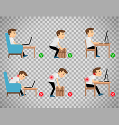 Man sitting and working correct postures vector