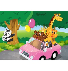 Bears climbing and a pink car full of animals vector
