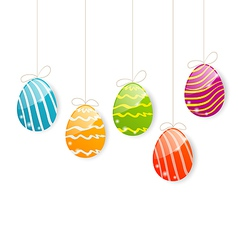 Easter colorful eggs on white background vector image