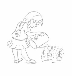 Cute girl watering flowers with outline vector