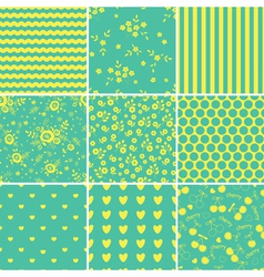 Set of abstract blue seamless patterns vector image