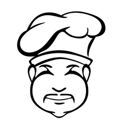 Japanese cook outline monochrome portrait vector