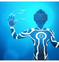 Man in a virtual reality helmet vector
