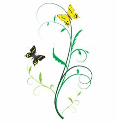 Two butterflies on the plants vector