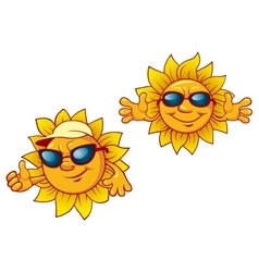 Cartoon summer suns with welcome open arms vector