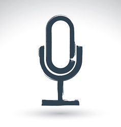 Hand drawn microphone icon brush drawing vector