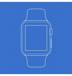 Smartwatch line icon on blue background vector