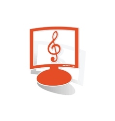 Music monitor sticker orange vector