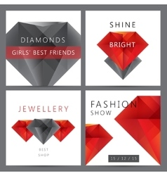 Set of red and black 3d crystals diamonds vector