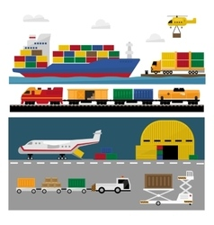 Transportation and shipping icons flat set vector
