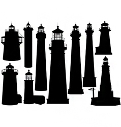 Lighthouse silhouettes vector
