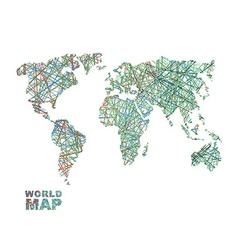 World map colored lines global internet vector