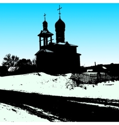 Silhouette of the old church vector