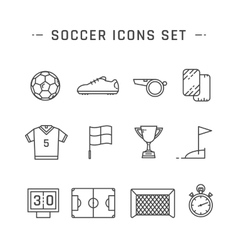 Soccer line icons vector