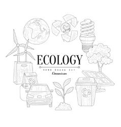 Ecology icons vintage sketch set vector
