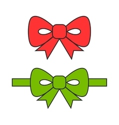 Red and green bows ribbons flat object vector
