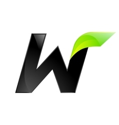 W letter black and green logo design fast speed vector