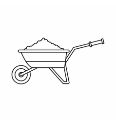 Wheelbarrow loaded with soil icon vector