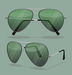 Aviator sunglasses isolated on white dark brown vector