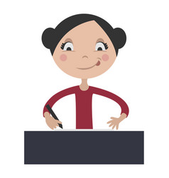 cartoon girl writing at school desk vector image