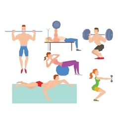 Cartoon sport gym people vector