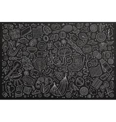 Chalkboard doodle cartoon set of picnic vector