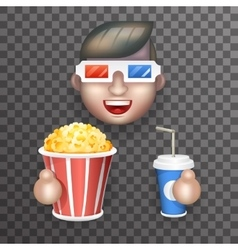 Cinema 3d glasses big popcorn soda water male guy vector