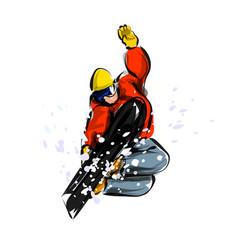 color line sketch snowboarder vector image