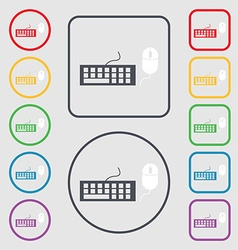 Computer keyboard and mouse Icon Symbols on the vector image vector image