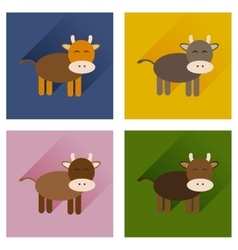 Concept of flat icons with long shadow cow calf vector