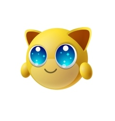 Cute animal emoji with big eyes cartoon character vector image vector image