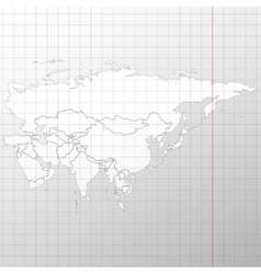 Eurasia map in a cage on white background vector