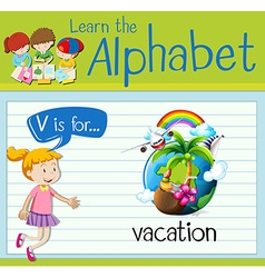 Flashcard letter V is for vacation vector image vector image