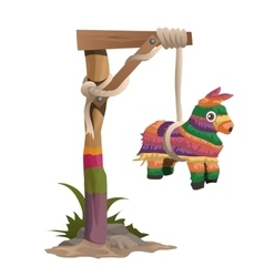 Hangman on a wooden beam with horse toy vector image vector image