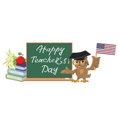 Happy Teachers Day Owl teacher stands at vector image vector image