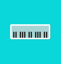 paper sticker on stylish background piano keys vector image