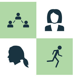 Person icons set collection of gentlewoman head vector