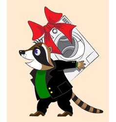 Raccoon and washing machine vector image vector image