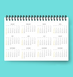 Realistic calendar Calendar template in English vector image