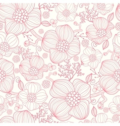 Red line art flowers seamless pattern background vector image vector image