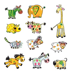 set of childish fruity animals vector image
