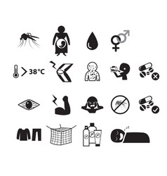 Set of zika virus icon in silhouette style vector