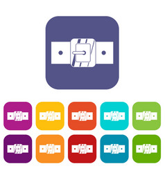 Square belt buckle icons set flat vector