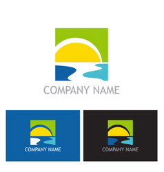sun beach river logo vector image