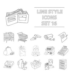 supermarket set icons in outline style big vector image