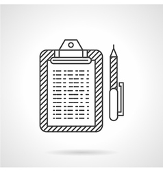 Thin line icon for clipboard vector image vector image